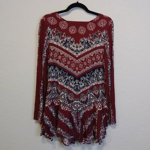 Free People M maroon long sleeved tunic
